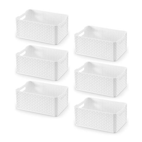 Imagem de Kit Caixa Organizadora Plástica Rattan Branca 4,5L com 6 Peças - Arthi