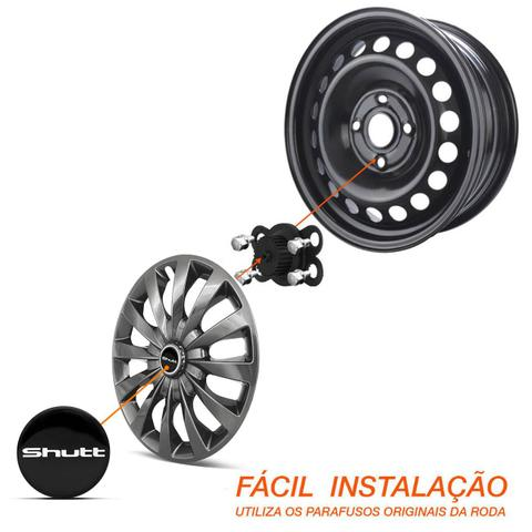 Imagem de Kit Calotas Esportivas Elite Shutt Aro 13 Tuning Black Grafite Preto Ótimo Acabamento Universal
