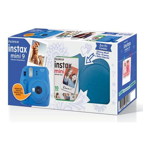 Imagem de Kit Câmera instantânea Fujifilm Instax Mini 9 c/ Bolsa e Filme 10 poses - Azul Cobalto