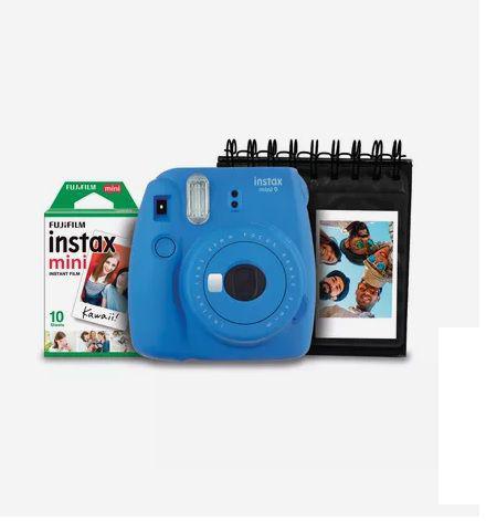Imagem de Kit Câmera Instantânea Instax Mini 9 Fujifilm com Porta Fotos e Filme 10 Poses - Azul Cobalto