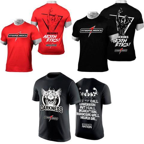 Imagem de Kit Camiseta Integralmedica Vermelha e Preta + Camiseta Darkness