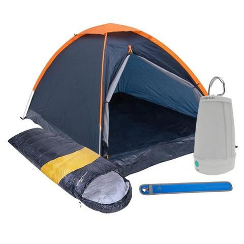 Imagem de Kit Camping Barraca Panda 2 Pessoas + Saco de Dormir + Lampião Lanterna + Sinalizador