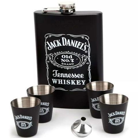Imagem de Kit Cantil de Whisky Jack Daniels c/ 4 Copos Shot e Funil - Cantil Inox Preto - 270ml