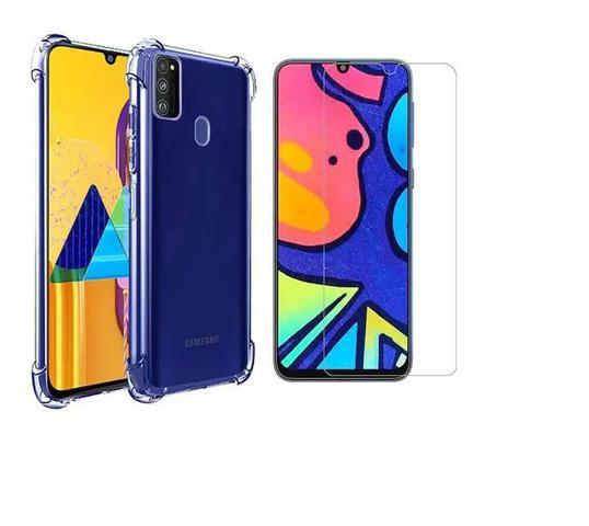 Imagem de Kit Capa Antishock Reforçada Samsung Galaxy M21S + 01 Película De Nano Gel + Acompanha Kit Sachê