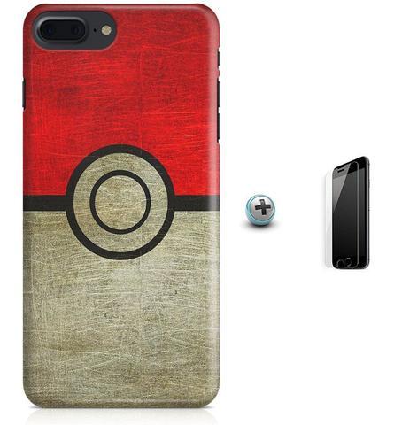 Imagem de Kit Capa Case TPU iPhone 8 Plus - Pokébola Pokéball + Pel Vidro (BD30)