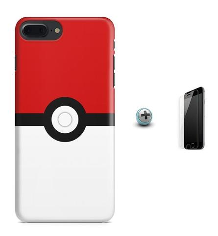 Imagem de Kit Capa Case TPU iPhone 8 Plus - Pokemon Go Pokebola Pokeball + Pel Vidro (BD01)