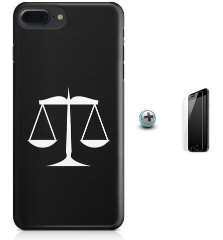 Imagem de Kit Capa Case TPU iPhone 8 Plus - Simbolo do Direito Balança + Pel Vidro (BD30)