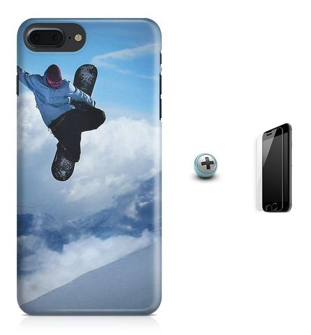 Imagem de Kit Capa Case TPU iPhone 8 Plus - Snowboard + Pel Vidro (BD01)