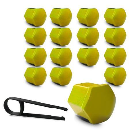 Imagem de Kit Capa de Parafuso Sextavado Chave 17 Fiat 16 peças Amarela