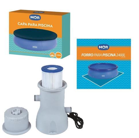 Imagem de Kit Capa + Forro + Filtro 3.600 L/h Para Piscina Splash Fun 2400 Litros - Mor