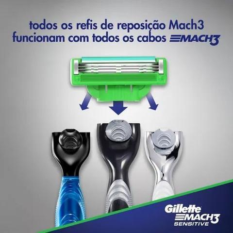 Imagem de Kit Carga Gillette Mach3 Sensitive 9 Cartuchos e Barbeador