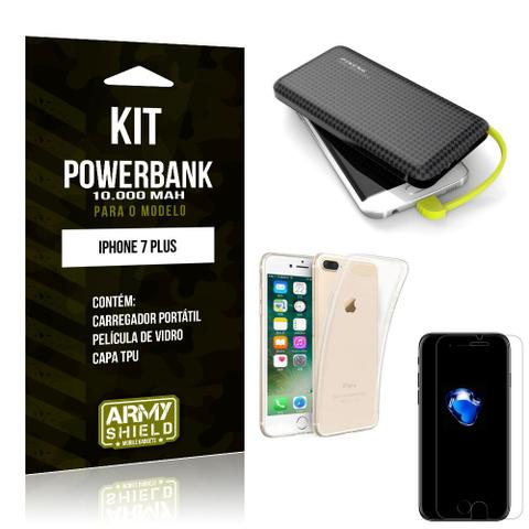 Imagem de Kit Carregador Portátil 10K Apple iPhone 7 Plus Powerbank + Capa + Película de Vidro - Armyshield