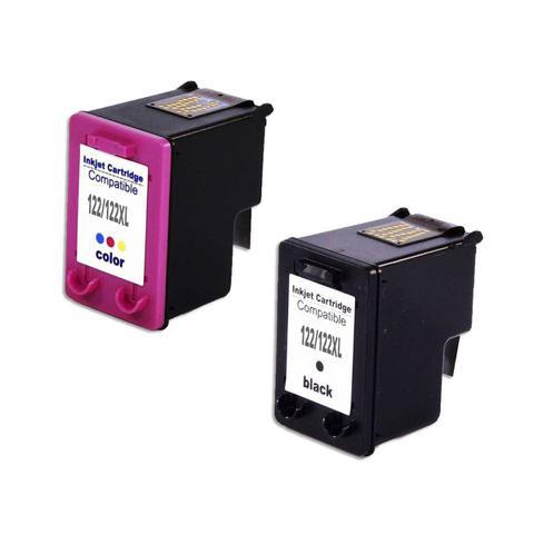 Imagem de Kit Cartucho Compatível para Impressoras HP CH563HB 122 e HP CH564HB 122 - Impressoras HP 1510 2540