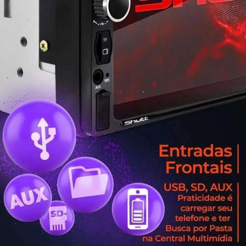 Imagem de Kit Central Multimidia Android e Ios Espelha Universal 2 Din Bluetooth Câmera de Ré