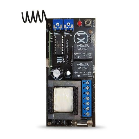 Imagem de Kit Central Portão Eletrônico Universal com Controle Remoto 4 Canais Aço Escovado