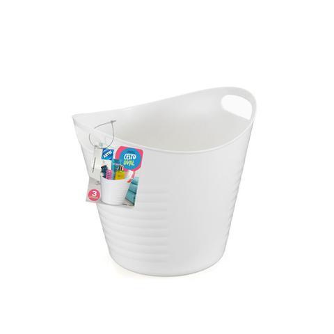 Imagem de Kit Cesto Multiuso Flexível Branco Balde Roupa 3 e 15 lts