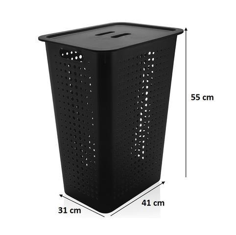 Imagem de Kit Cesto Organizador Roupas Grande 47L + Dispenser Porta Sacolas - Ou