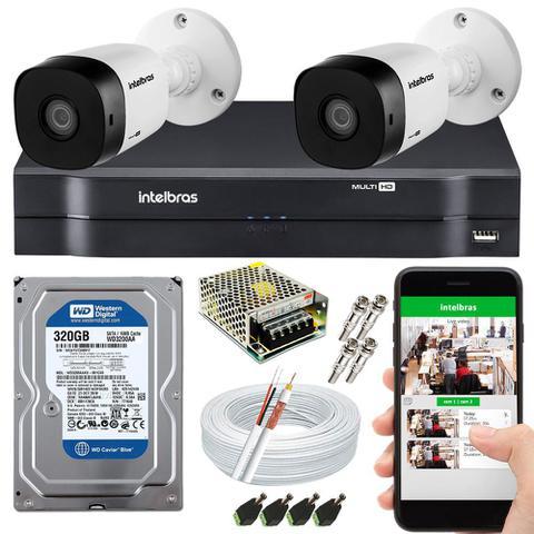 Imagem de Kit CFTV 2 Câmeras Intelbras e HD 320GB