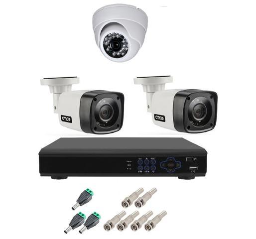 Imagem de Kit Cftv 3 Camera Segurança Hd 720p Dvr Full hd 4ch
