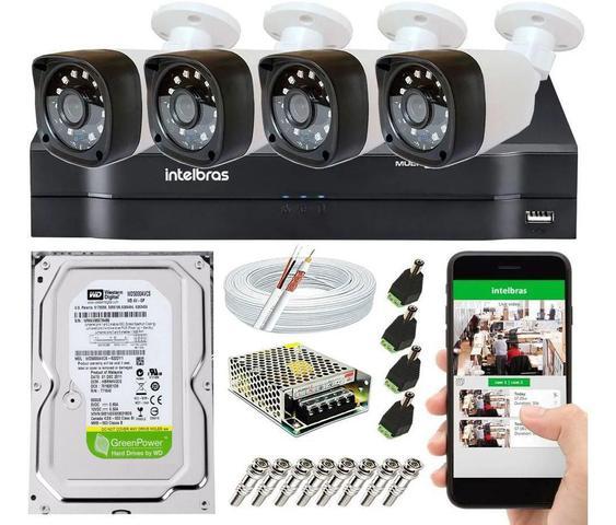 Imagem de Kit Cftv 4 Câmeras de Segurança Hd 720p e Dvr Mhdx 1104 Intelbras