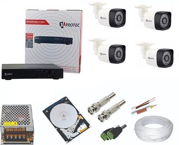 Imagem de Kit Cftv 4 Câmeras Segurança 2mp 1080p 20m + Dvr  Hd 4 Canais