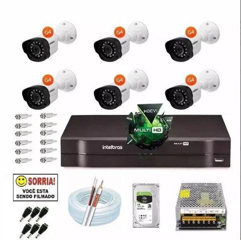 Imagem de Kit Cftv 6 Cameras Multi Hd 720p Dvr 8 Canais Intelbras 1008
