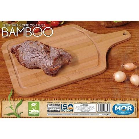 Imagem de Kit Churrasco com 3 Itens Tabua, Gamela Ova e Gamela Redonda em Bambu Mor