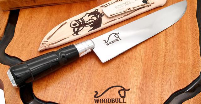 Imagem de Kit churrasco origens - tábua de corte rústica + faca inox 8