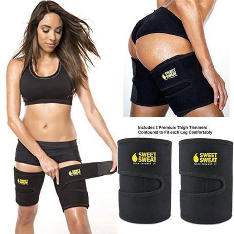 Imagem de Kit Cinta Emagrecedora Modeladora Pernas Coxas Anti Celulite Faixa Compressao Queima Gordura Unissex