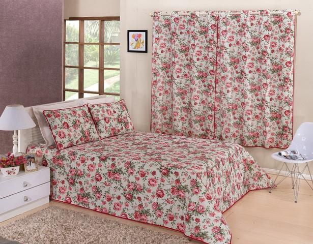 Imagem de Kit Cobre Leito Casal King Size Piquet Floral + Cortina 2 Metros