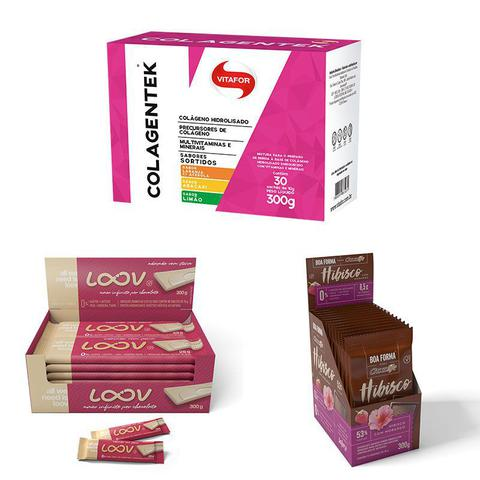 Imagem de Kit Colagentek 30 sachês sortidos Vitafor, Choc Boa Forma Hibisco com Morango  e Cho Loov Branco Chocolife