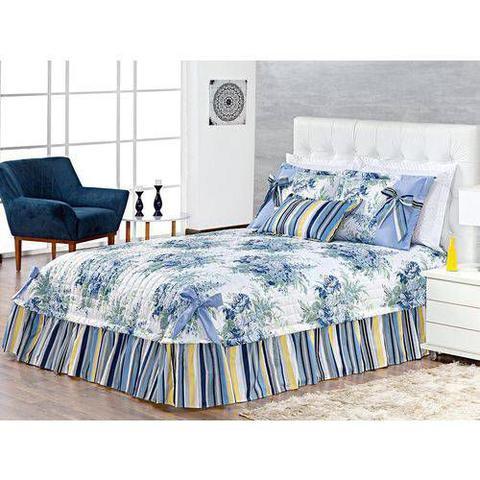 Imagem de Kit Colcha Casal Queen Hortence Patchwork Com Laços 05 Peças Floral Azul