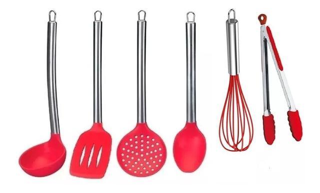 Imagem de Kit Colher Silicone Cozinha Peças Vermelho Cabo Inox 6 Peças