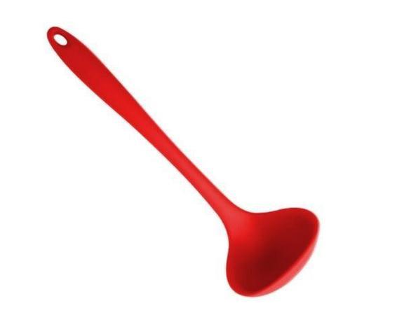 Imagem de Kit Colheres De Silicone Maciço Com Pegador  8 Pçs Vermelho