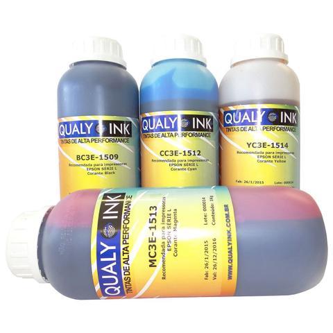 Imagem de Kit Colorido 4 Cores de Tinta Corante Qualy-ink para impressora Epson L355 L365 L375 L395 XP204 TX420 CX4900 Refil 1kg cada