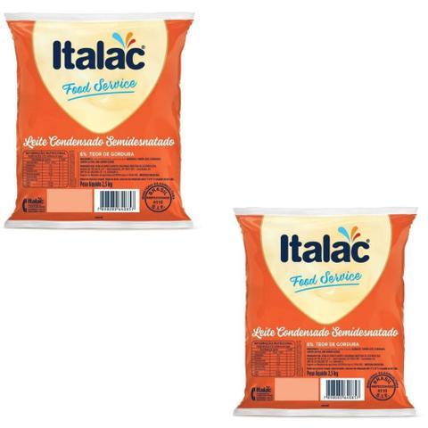Imagem de Kit com 02 Bag Leite Condensado Semi Desnatado Italac 2,5kg