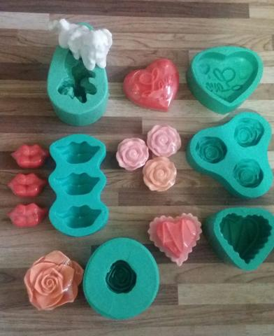 Imagem de Kit com 06 moldes formas de silicone para fabricação de sabonetes artesanais