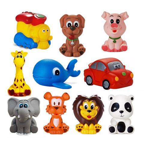 Imagem de Kit Com 10 Brinquedos De Vinil Para Bebê Maralex - Elefante, Girafa, Tigre, Leão, Porco, Baleia, Panda, Cachorro, Carro