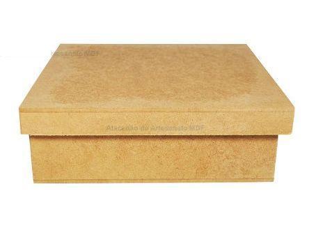 Imagem de Kit Com 10 Caixa Quadrada Tampa Sapato 12x12x5 Mdf Madeira