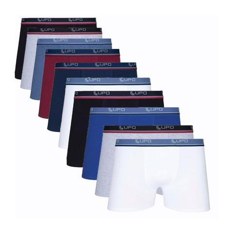 Imagem de Kit Com 10 Cuecas Boxer Cotton Confort 523-002 - Lupo