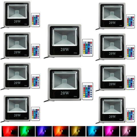 Imagem de Kit Com 10 Pecas - Holofote Refletor Super Led 20w Rgb - A Prova Dagua   Controle Remoto