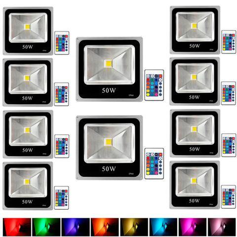 Imagem de Kit Com 10 Pecas - Holofote Refletor Super Led 50w Rgb - A Prova Dagua   Controle Remoto
