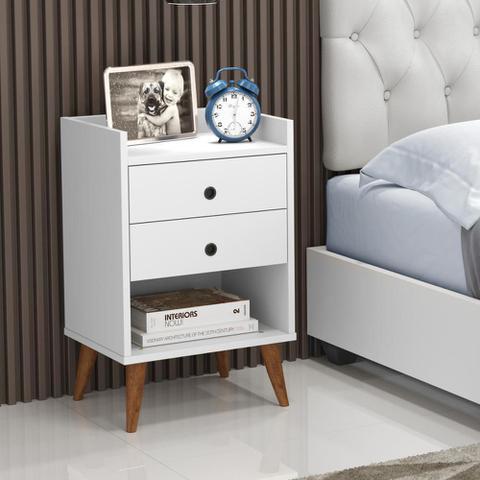 Imagem de Kit com 2 Mesa de cabeceira Retrô Bento - Branco - RPM Móveis