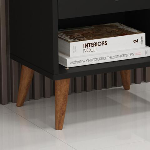 Imagem de Kit com 2 Mesa de cabeceira Retrô Bento - Preto Fosco - RPM Móveis