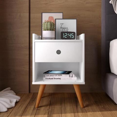 Imagem de Kit com 2 Mesa de cabeceira Retrô Decore 1 Gaveta - Branco - RPM Móveis
