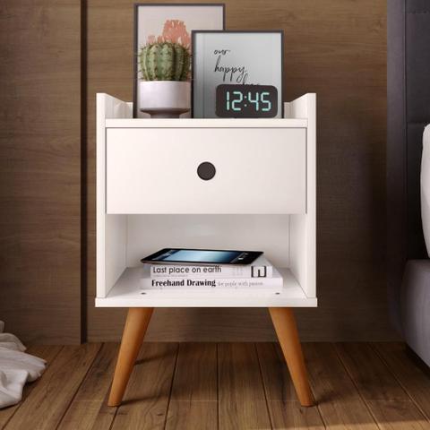 Imagem de Kit com 2 Mesa de cabeceira Retrô Decore 1 Gaveta - Off White - RPM Móveis
