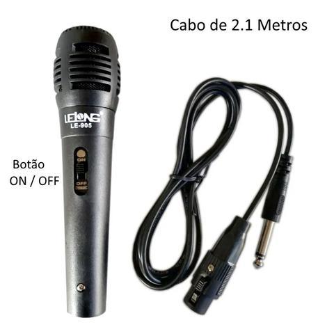 Imagem de Kit com 2 Microfones para Karaokê e Caixa de Som com fio de 2.5 metros LELONG