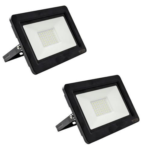 Imagem de Kit com 2 pecas holofote refletor super led duplo 100w bivolt bco frio