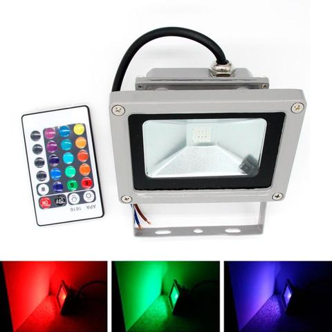 Imagem de Kit Com 2 Pecas - Holofote Refletor Super Led Duplo 100w Bivolt Rgb   Controle Remoto