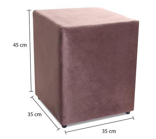 Imagem de Kit com 2 Puff Quadrado Suede Marrom Decorativo 35x35cm